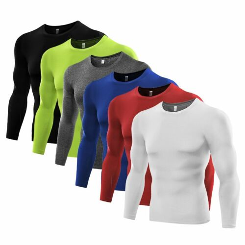 Men Long Sleeve Sports Quick Dry Compression Under Base Layer Tee Shirts Tops