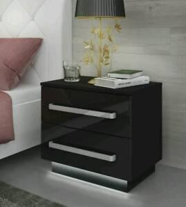 Details about Black Bedside Cabinets / Table / FREE LED !!! / High Gloss /  Bedroom Furniture