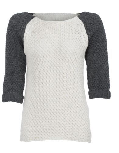 Women/'s 3//4 sleeve contrast sleeve jumper chunky knit cream grey S,M X Large