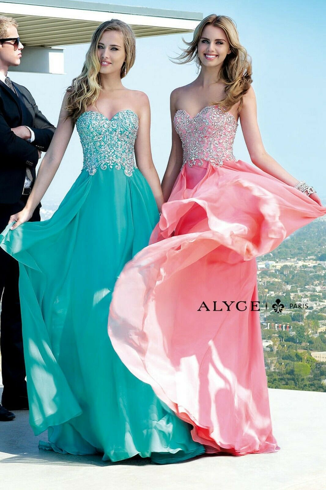 NWT Size 16 Alyce 6409 New coral beaded and jeweled long formal PROM gown