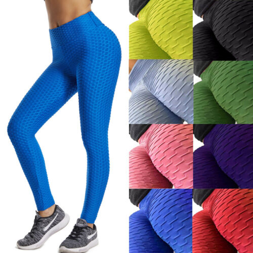 UK Womens Yoga Push Up Sports Pants Gym Fitness Leggings Ruched Workout Trousers