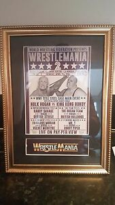 Wrestlemania-2-1986-Framed-Mounted-Event-Poster-Hulk-Hogan-Randy-Savage-WWF