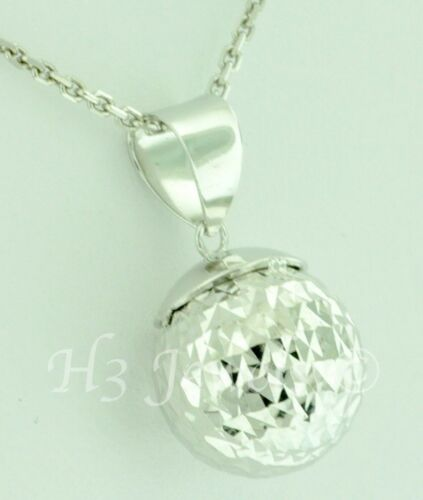 Details about  /3-d  18k solid white gold pop hollow ball pendant  h3jewels #5741