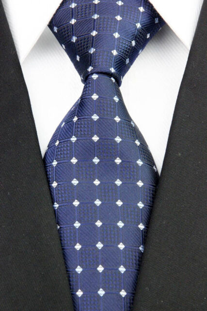 NE0190 Classic JACQUARD Woven Blue Lattices 100%Silk Men's Necktie Tie
