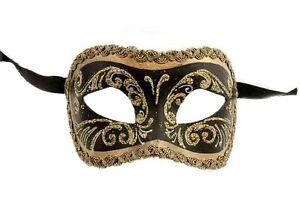 Masque-de-Venise-Loup-Colombine-Noir-Dore-Authentique-Papier-Mache-205