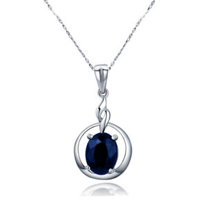 2-CT-Natural-Oval-Sapphire-Necklace-Pendant-in-925-Silver-W-18-039-Necklace-Chain