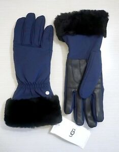 NWT-UGG-Women-s-Shearling-Cuffed-Leather-amp-Polyester-Tech-Gloves-New-Navy