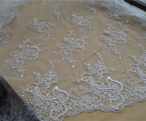 """Vintage Wedding Dress Fabric 53/"""" Ivory Embroidery Tulle Bridal Lace Fabric 1 Y"""
