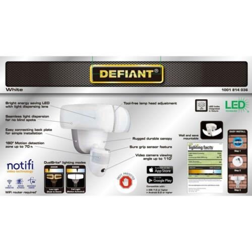Defiant 180° White LED Wi-Fi Video Motion Security Light White DFI-5892-WH