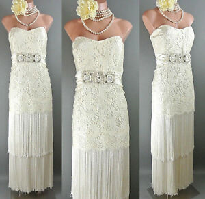 Details About Badgley Mischka Ivory Formal Dress 14 Lace Fringe Skirt Bridal Gown Boho Summer