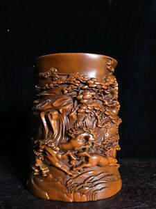 noble natural Boxwood carved Running horse pine trees landscape statue Brush Pot