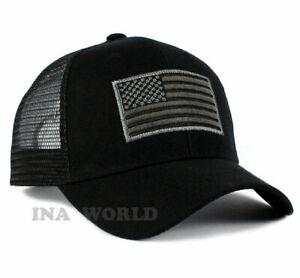 USA-American-Flag-Hat-Mesh-Tactical-Operator-Snapback-Baseball-Cap-Black