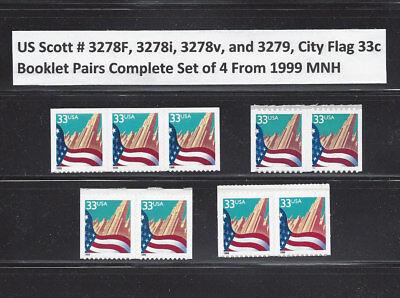 US Scott # 3278F, 3278i, 3278v, & 3279 / Flag Over City Set of 4 Booklet Pairs
