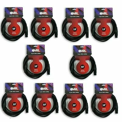 20 PackVRL 3-Pin 10/' ft Length DMX Pro Stage DJ Lighting Control Data Cable
