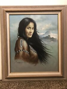 Z-GARCIA-MASTERWORK-VTG-OIL-PAINTING-NATIVE-AMERICAN-SUBJECT-ON-CANVAS