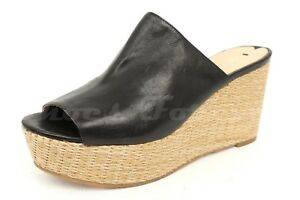 Womens-VIA-SPIGA-black-leather-wedge-slides-shoes-sz-7-5-NEW