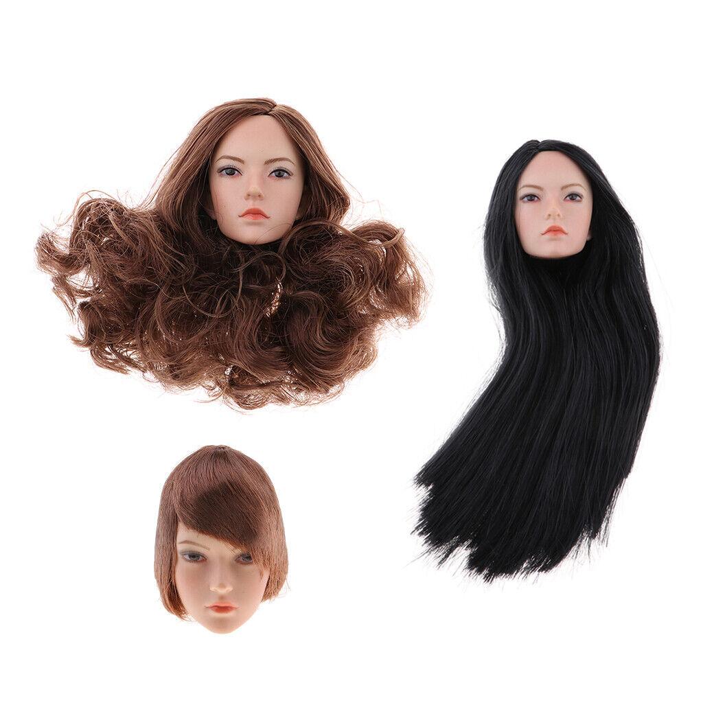 1 6 LADY TESTA SCOLPIRE capelli corti  per 12 Pollice Bambola Phicen kumik Donna Corpo giocattolo  centro commerciale online integrato professionale