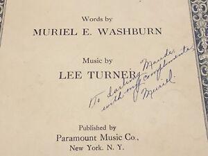 NIGHT-TIME-Autographed-Sheet-Music-MURIEL-E-WASHBURN-amp-Lee-Turner-SIGNED