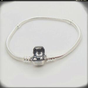 Authentic-sterling-silver-Barrel-Clasp-Snake-Chain-Bead-590702HV-Charm-Bracelet