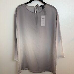 Eileen-Fisher-Womens-Blouse-Gray-Long-Sleeve-Sheer-100-Silk-XXS-New
