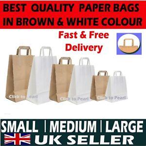 Brown /& White Kraft Paper Carrier Bags Food Takeaway Party Bags