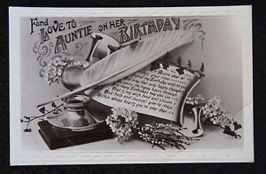 Vintage-B-W-Postcard-FOND-LOVE-TO-AUNTIE-ON-HER-BIRTHDAY-Written-unposted