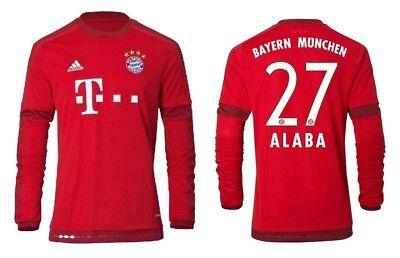 FCB Trikot Adidas FC Bayern 2015-2016 Home Langarm 128 bis 3XL David Alaba