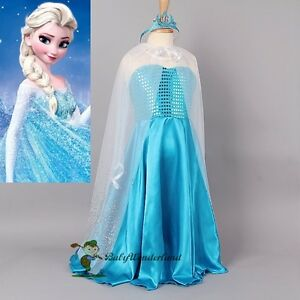 Clearance-Girl-Frozen-Princess-Elsa-Party-Birthday-Dress-Costume-3-12Y-No-Crown