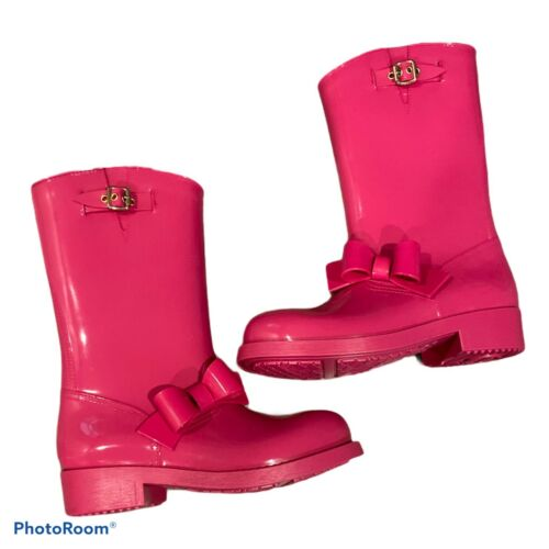 VALENTINO RED V BOW PINK RAIN BOOTS GALOSHES SIZE