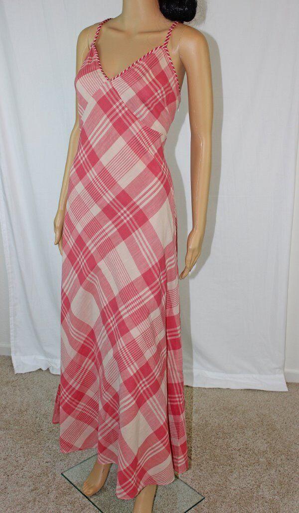 POLO Ralph Lauren rot And Cream Plaid Maxi Dress NWT