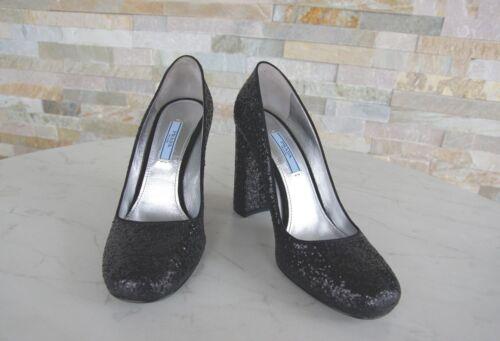 Prada Gr 38,5 Pumps Heels Glitter Abendschuhe Schuhe schwarz NEU ehem. UVP 490€