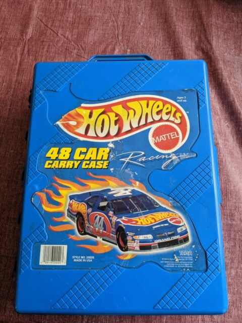 1999 Hot Wheels 48 Car Carry Case Blue Vintage Mattel Racing With Misc. Cars