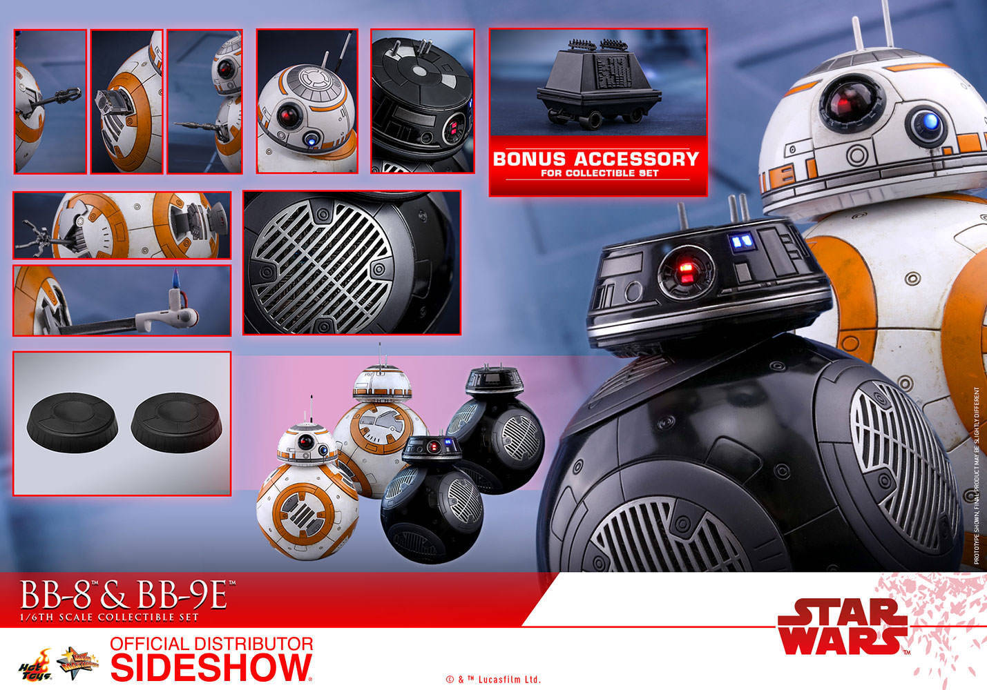Hot Toys Star Wars: The Last Jedi BB-8 & BB-9E Figure Set 1/6 Scale MMS442
