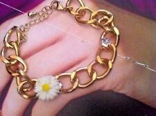 (KN50) gorgeous daisy flower gold plated bracelet ,  adjustable,   crystal stone