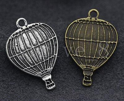 10/40/200pcs Antique Silver/Bronze Hot air balloon Charms Pendant 24x17mm