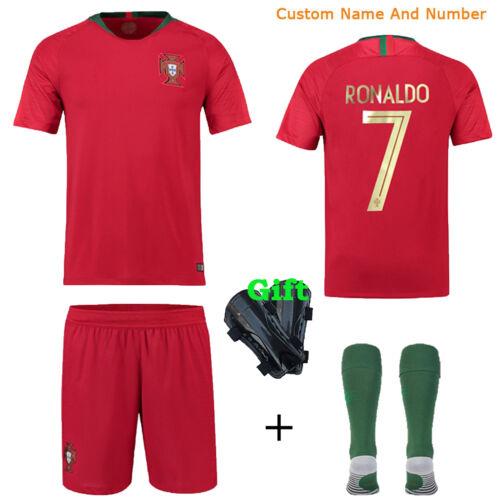 2018 Soccer Kids Jersey Team Suit Short Sleeve Kit Boys Youth 3-12 Yrs+Kneepad
