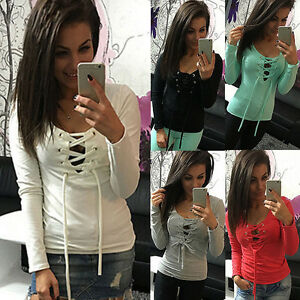 Women-039-s-Long-Sleeve-Lace-Up-Neck-T-Shirt-Slim-Fit-Casual-Tops-Blouse-Sexy-Shirt