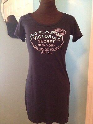 NWOT Victoria's Secret New York NY Black Sleep Dress Shirt S
