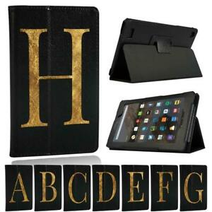 Para-Amazon-Fire-7-HD-8-HD-10-Tablet-Estuche-con-Funda-y-base-de-cuero-nombre-inicial