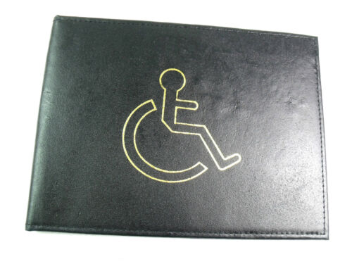 QUALITY BLACK REAL LEATHER DISABLED BADGE HOLDER WALLET DISABILITY PARKING COVER