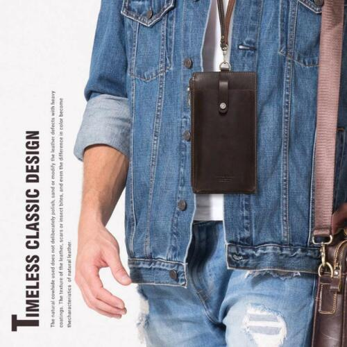Details about  /Leather Cell Phone Bag Hanging Neck Wallet Coin Purse Credit Card Pouch Pocket