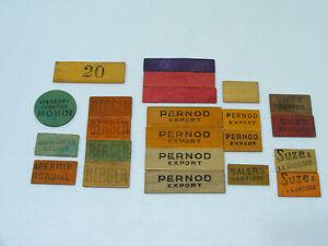 Lot-23-jetons-carte-ancien-bois-SUZE-BERGER-PERNOD-MONIN-SALERS-COMBIER-MANDARIN
