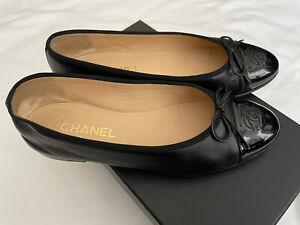 Chanel-Ballet-Flats-Classic-Cap-Toe-Ballerina-Leather-Black-on-Black-Paten-Sz-39