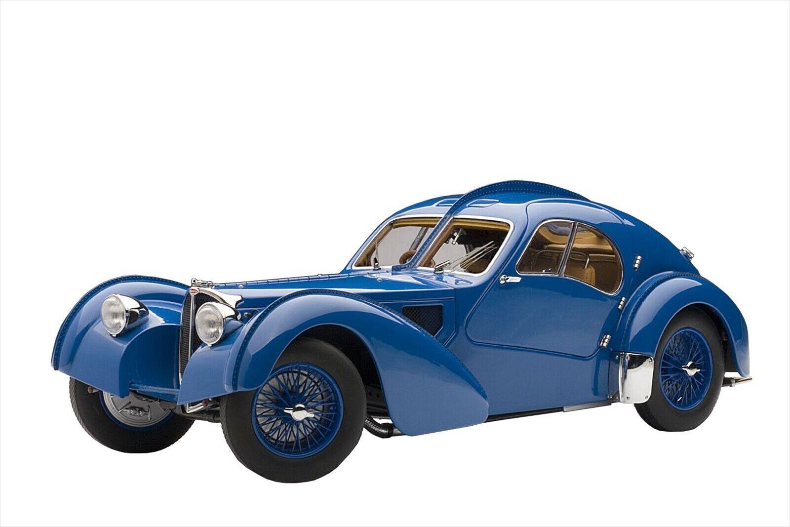 AUTOart 1 18 Bugatti Type 57SC Atlantic Blau w  Spoke Wheels Diecast Model 70942