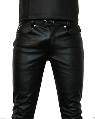New Genuine Soft Lambskin Leather Mens Biker Pants Slim Fitting Swagger HL#86