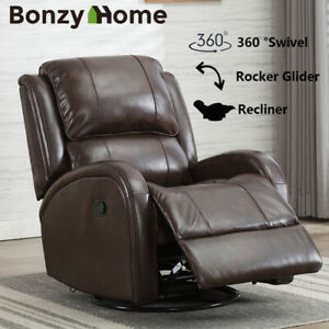 Leather-Swivel-Rocker-Recliner-Chair-Padded-Seat-Living-Room-Muti-function-Sofa