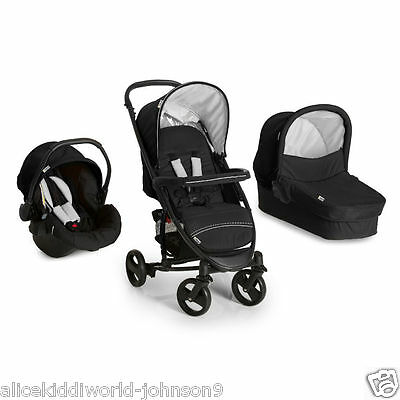 Hauck Miami 4S Trio Travel System Pushchair Pram Caviar Black/Silver+raincover