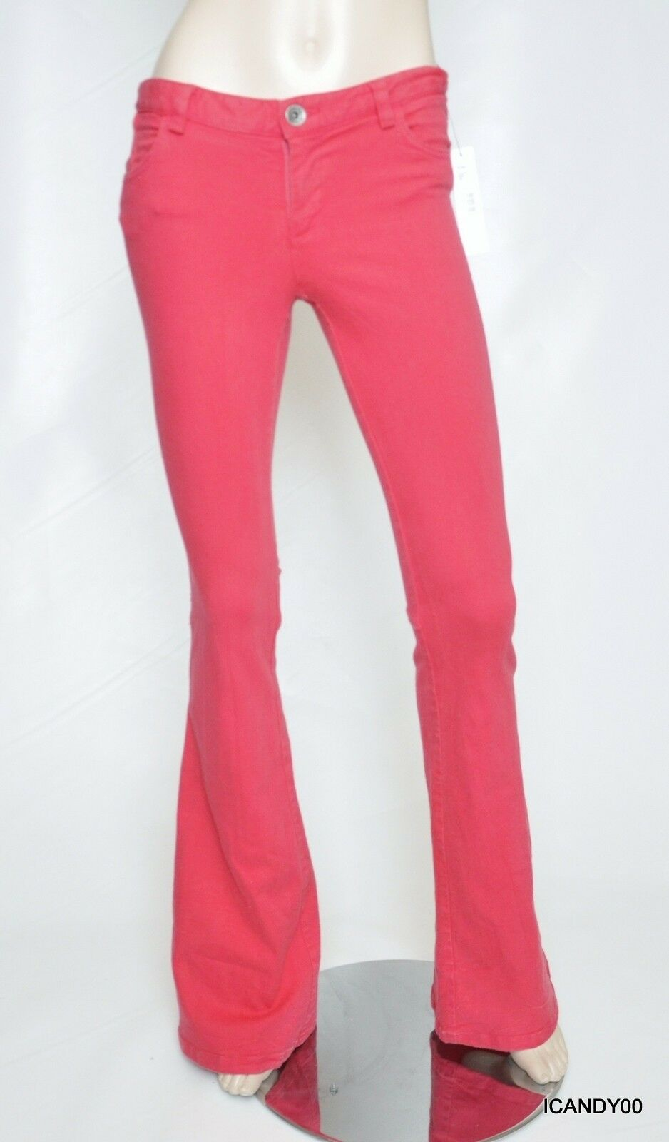 Nwt  198 Alice + Olivia Stacey Bell Stretch Flare Jeans Pants Trousers Pink 4