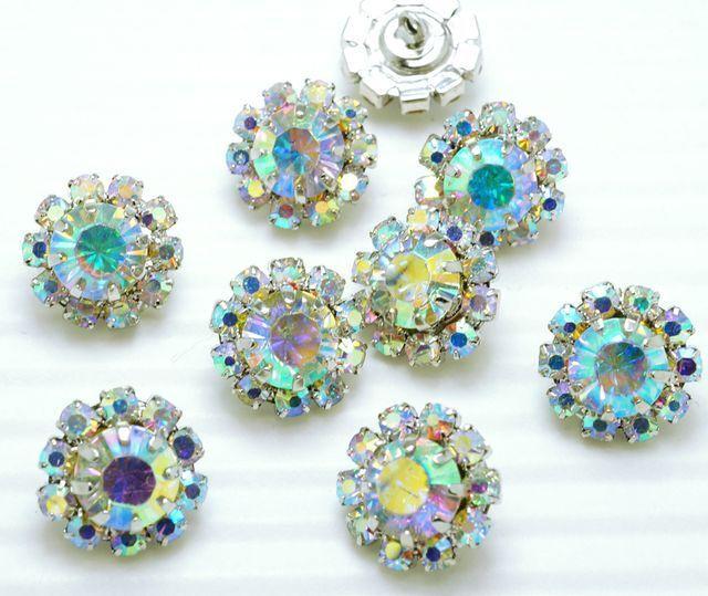 """8 Sparkling 1/2"""" AB Rainbow Glass//Rhinestone Silver Shank Buttons N030"""