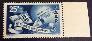 Sarre-N-277-25-F-Bleu-Conseil-De-L-039-Europe-Neuf-Bord-De-Feuille-TTB-Cote-60